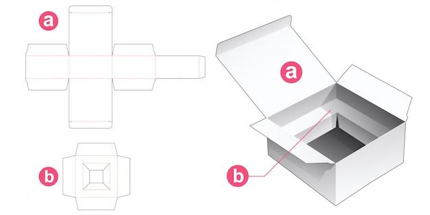 Boîte avec gabarit de découpe rectangulaire