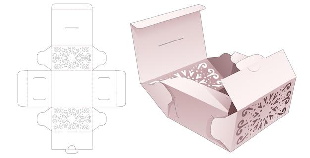 Boîte à gâteaux foldimg avec modèle de découpe de mandala au pochoir