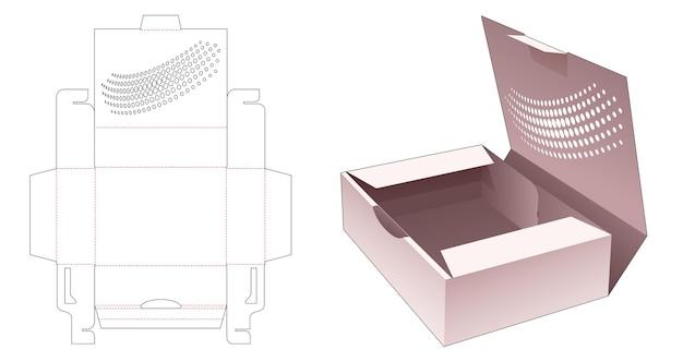 Boîte à gâteaux avec modèle de découpe de points de demi-teintes au pochoir