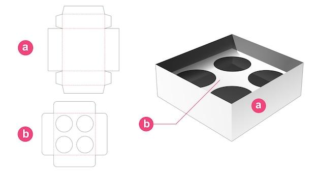 Boîte à gobelets avec support d'insertion gabarit découpé