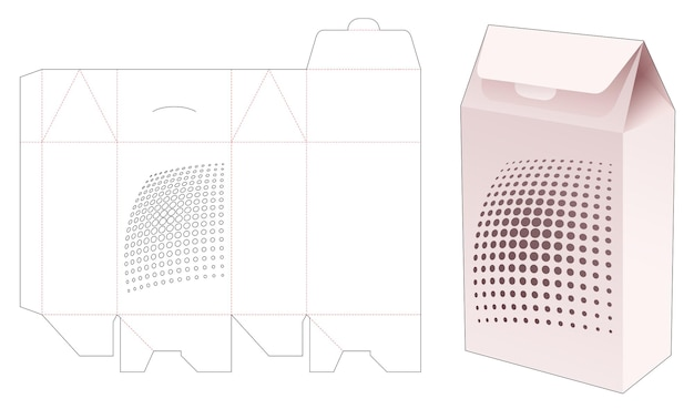 Boîte de grand sac à rabat avec modèle de découpe de points de demi-teintes au pochoir