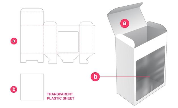 Boîte et grande fenêtre avec gabarit de découpe en feuille de plastique transparent