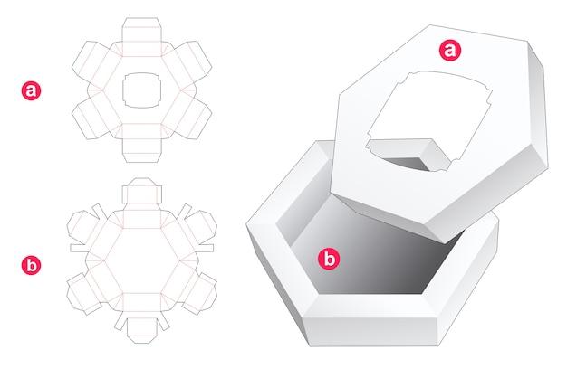 Boîte hexagonale et couvercle avec modèle de découpe de fenêtre vintage