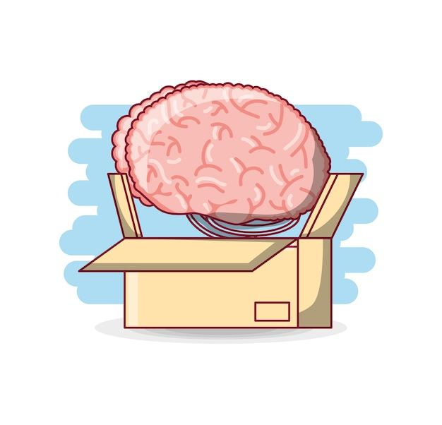 Boîte avec l'icône du cerveau humain