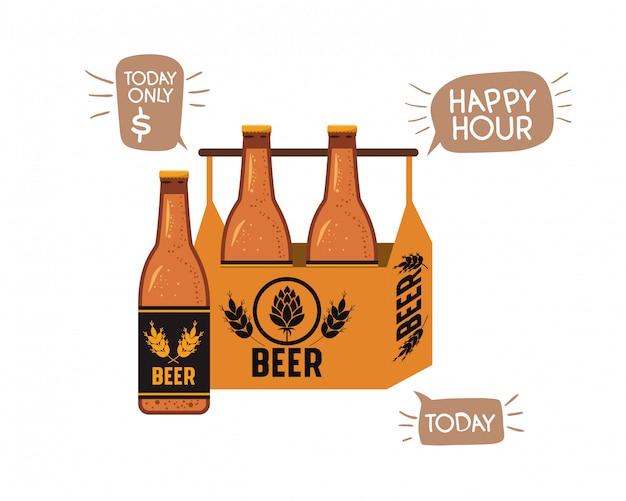 Boîte avec icône isolé de bouteilles de bière