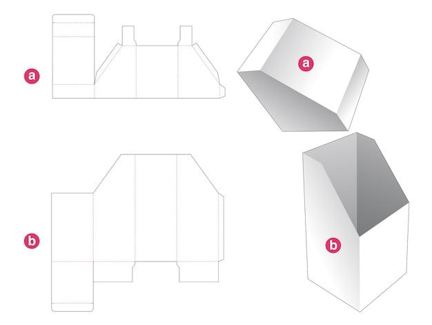 Boîte inclinée avec couvercle incliné gabarit découpé