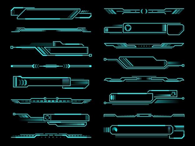Boîte d'informations futuriste hud, éléments d'interface d'affichage et de bordures