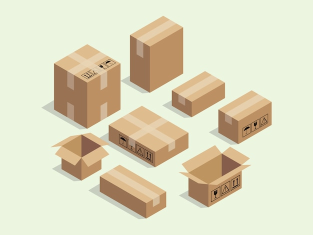 Boîte isométrique en carton pour les emballages d'expédition