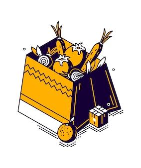 Boîte isométrique avec légumes et fruits, stockage des aliments dans un magasin ou un marché, illustration