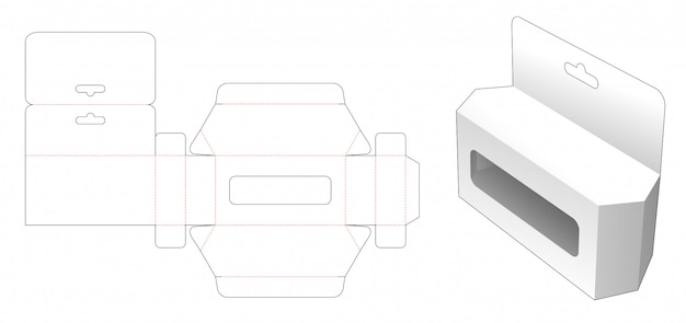 Boîte à jouets hexagonale avec trou de suspension et gabarit de découpe de fenêtre
