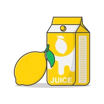 Boîte de jus de citron avec illustration d'icône de citron.