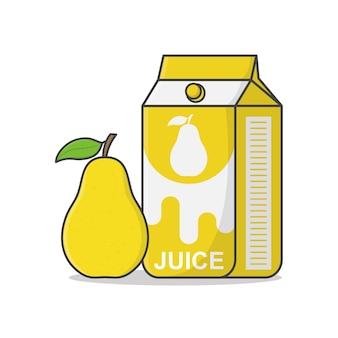 Boîte de jus de fruits poire avec poire. emballage en carton de jus. récipient de boisson de jus