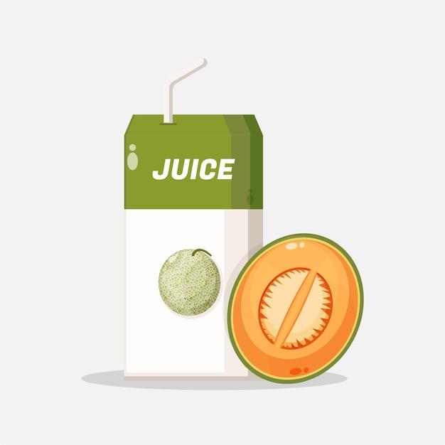 Boîte de jus de melon avec icône de tranche de melon