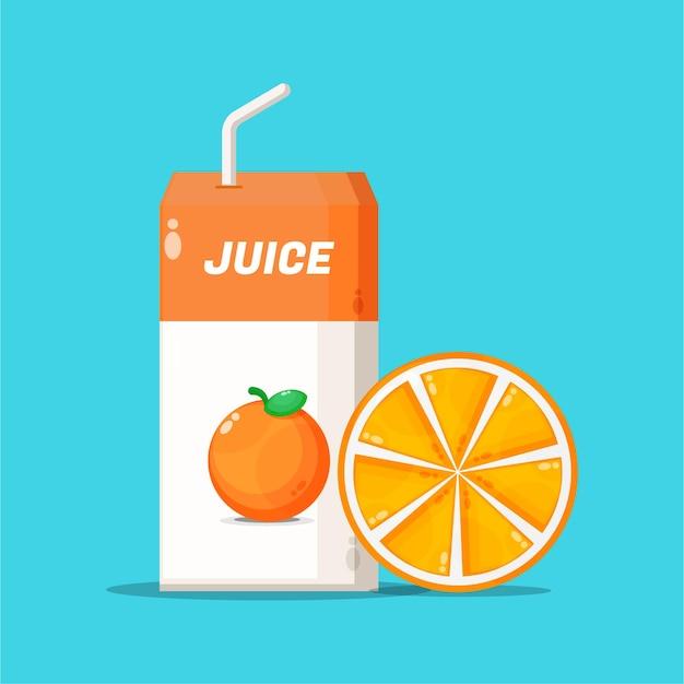 Boîte de jus d'orange avec l'icône de tranche d'orange