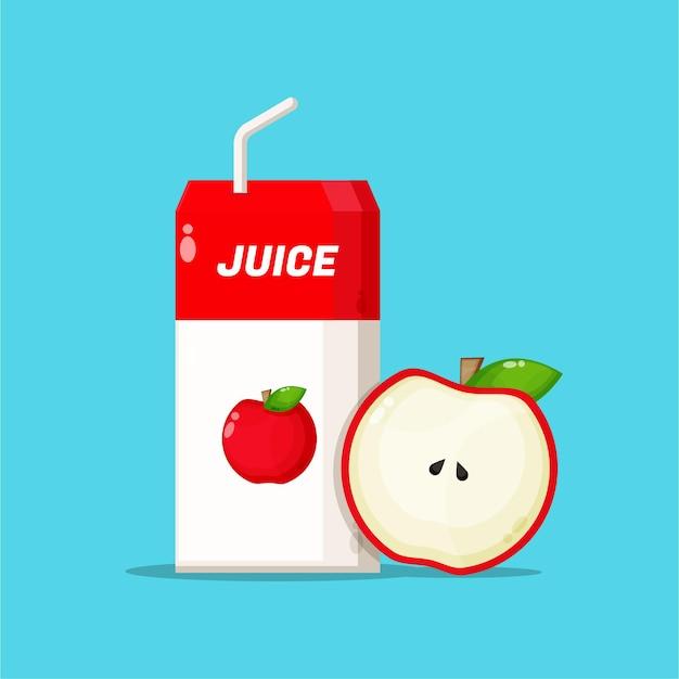Boîte de jus de pomme avec icône de tranche de pomme