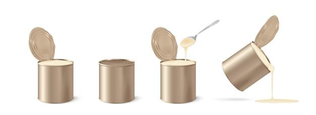 Boîte de lait concentré réaliste en métal en 3d sur blanc