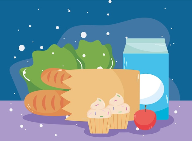 Boîte à lait et épicerie