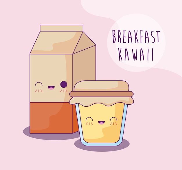 Boite à lait avec pot de miel, style kawaii
