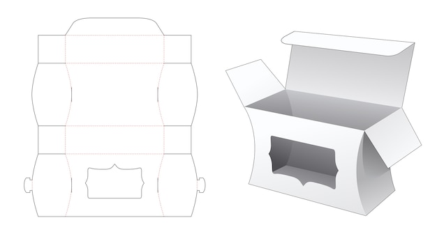 Boîte latérale incurvée avec gabarit de découpe de fenêtre