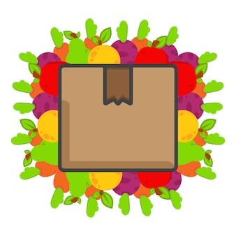 Boîte de livraison avec illustration de légumes journée mondiale végétalienne illustration d'aliments sains sur blanc b