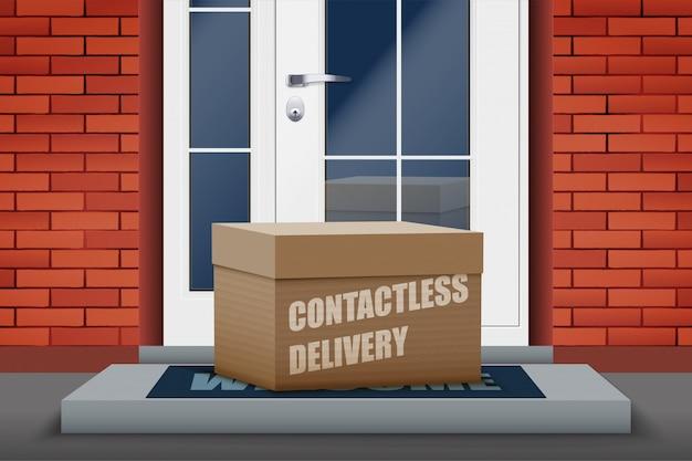 Boîte de livraison sans contact sur le pas de la porte