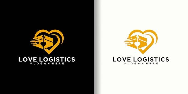 Boîte de logistique sur la conception de logo d'amour