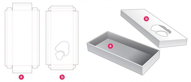 Boîte longue de 2 pièces avec conception de modèle prédécoupé de fenêtre à 2 coeurs