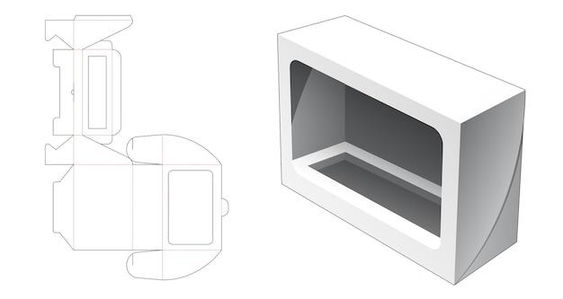 Boîte longue cosmétique pliante avec gabarit de découpe de fenêtre