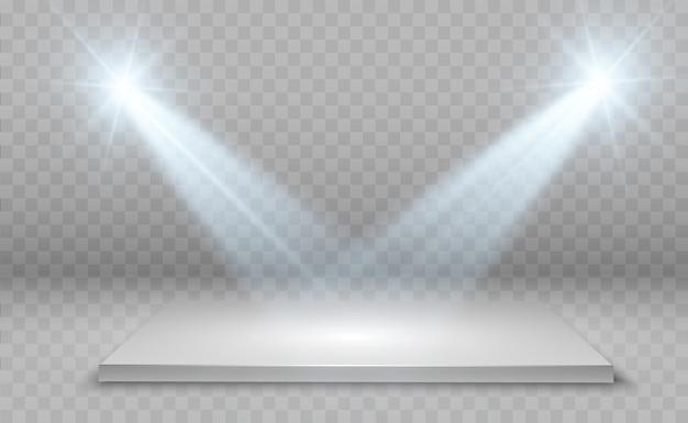 Boîte à lumière 3d réaliste avec fond de plate-forme pour la performance de conception, spectacle, exposition. intérieur du studio lightbox. podium avec projecteurs.