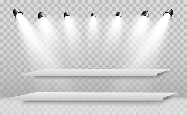 Boîte à lumière 3d réaliste avec plate-forme pour la performance de conception, spectacle, exposition. podium avec projecteurs.