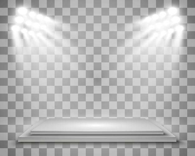 Boîte à lumière réaliste avec fond de plate-forme pour performance, spectacle, exposition. illustration de lightbox studio interior. podium avec des projecteurs.