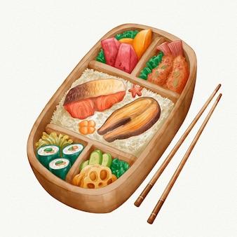 Boîte à lunch japonaise bento aquarelle