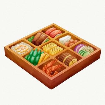 Boîte à lunch japonaise bento umeboshi aquarelle