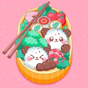 Boîte à lunch japonaise bento umeboshi kawaii