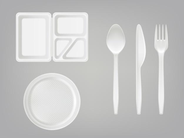 Boîte à lunch en plastique jetable réaliste avec la cloison, la plaque, les couverts - la cuillère, la fourchette, le couteau
