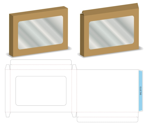 Boîte avec maquette de fenêtre en plastique avec dieline