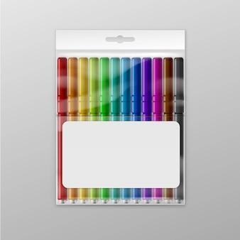 Boîte de marqueurs de feutre colorés isolé