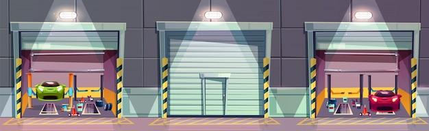 Boîte de mécanicien de dessin animé avec voiture sur ascenseur, réparation du véhicule.