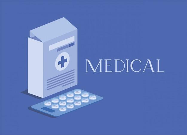 Boîte de médecine emballant avec des pilules