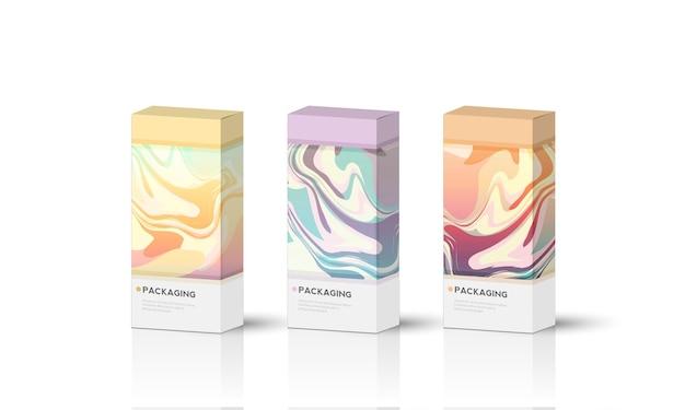 Boîte, modèle d'emballage pour illustration de conception de vecteur de produit.