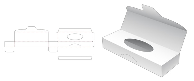 Boîte à mouchoirs longue avec gabarit de découpe haut flip