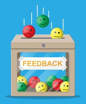 Boîte de notation. examens sourit les visages. témoignages, notes, commentaires