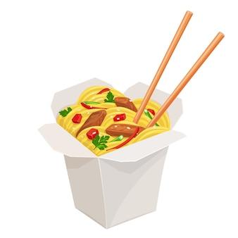 Boîte de nouilles à emporter en carton wok avec légumes et porc frit.
