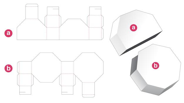 Boîte octogonale avec couvercle gabarit découpé