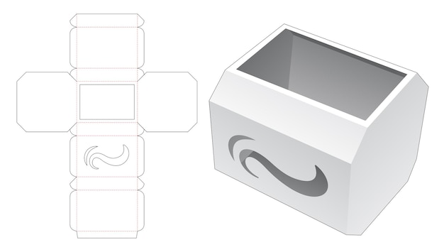 Boîte octogonale avec modèle de découpe d'icône de vague au pochoir
