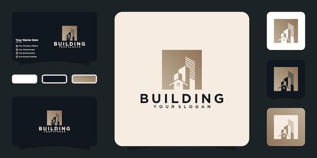 Boîte en or en forme de logo de bâtiment de luxe et carte de visite inspirée
