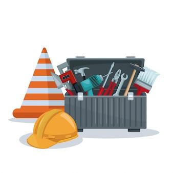 Boîte à outils et cône avec protection de casque