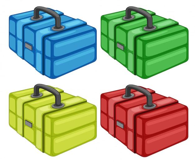 Boîte à outils différente sur fond blanc