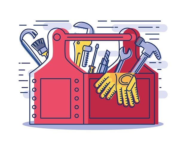 Boîte à outils avec fournitures marteau gants clé