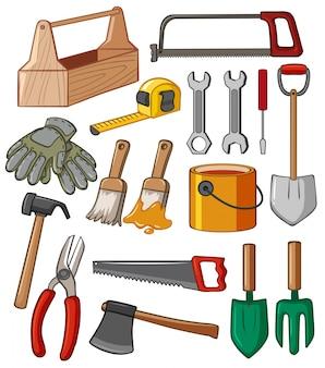 Boîte à outils et illustration de nombreux outils